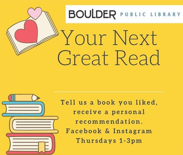 Let us help you find Your Next Great Read. Fill out the form below and our librarians will create a reading list just for you, tailored to your reading preferences
