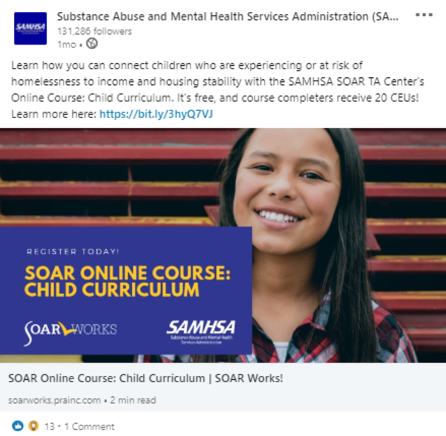 SOAR LinkedIn Post: SOAR Online Course: Child Curriculum