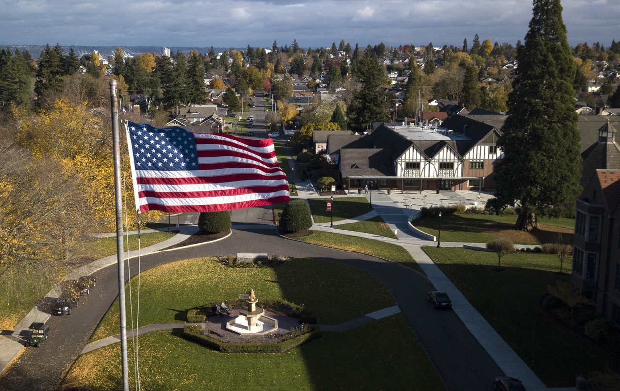 American flag over campus