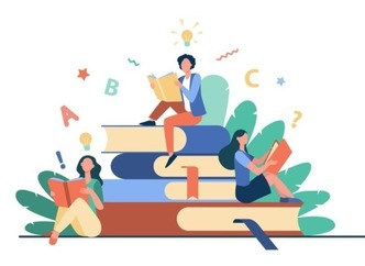 Vector illustration, three students lounge on a larger-than-life pile of books while reading.