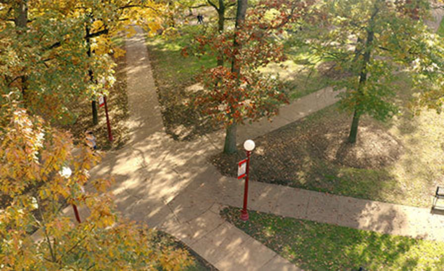 Aerial fall view of the Oak Grove