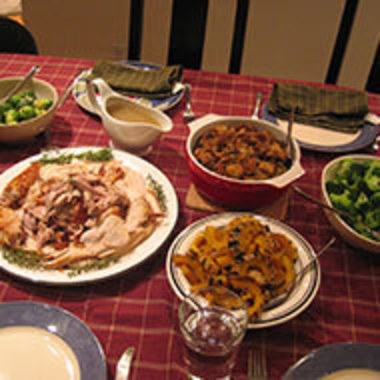 Thanksgiving-style food set out on a table