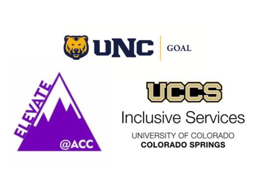 UNC GOAL logo, ACC Elevate logo, UCCS Inclusive Services logo