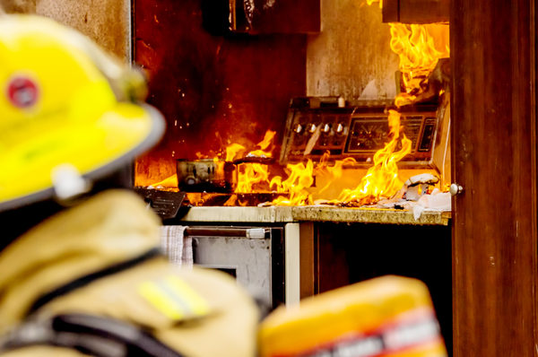 Firefighter at a kitchen fire