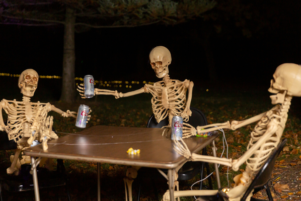 skeletons sitting at a table