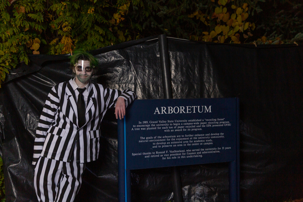 student dressed up as beetle juice