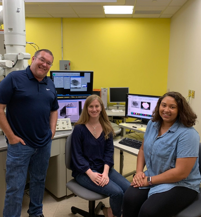 Mark Krekeler with recent Ph.D. student Brittany Cymes and Undergrad Angela Arrington.