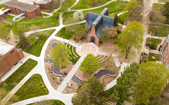 Drone photo of Central College Peace Mall