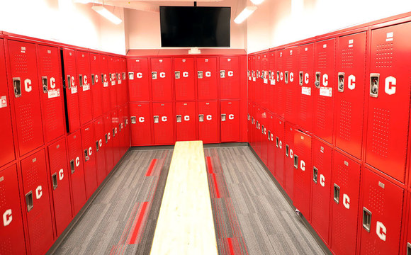 Photo of newly renovated locker room at Central College