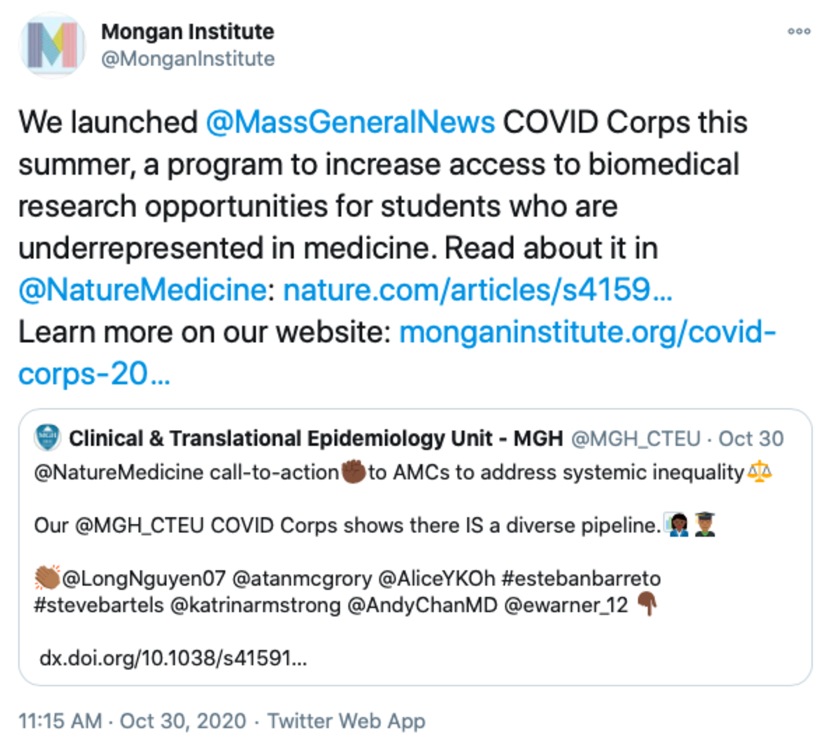 Tweet that reads: We launched @MassGeneralNews COVID Corps this summer, a program to increase access to biomedical research opportunities for students who are underrepresented in medicine. Read about it in @NatureMedicine