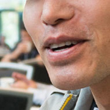 closeup of person talking