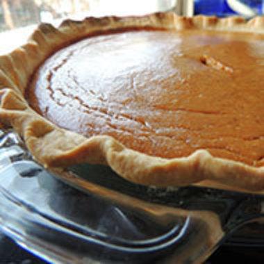 closeup of pumpkin pie