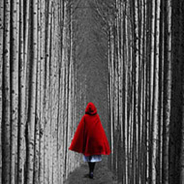girl in red, hooded cape walking through woods
