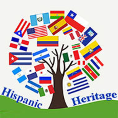 Hispanic Heritage Council logo with tree made up of various countries' flags