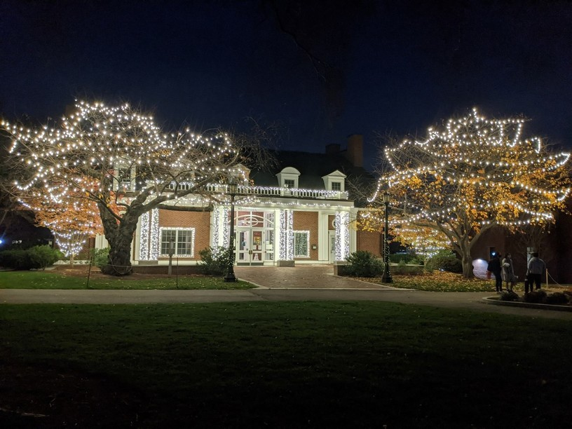 Bendetson Hall and the two trees in front decorated with white string lights