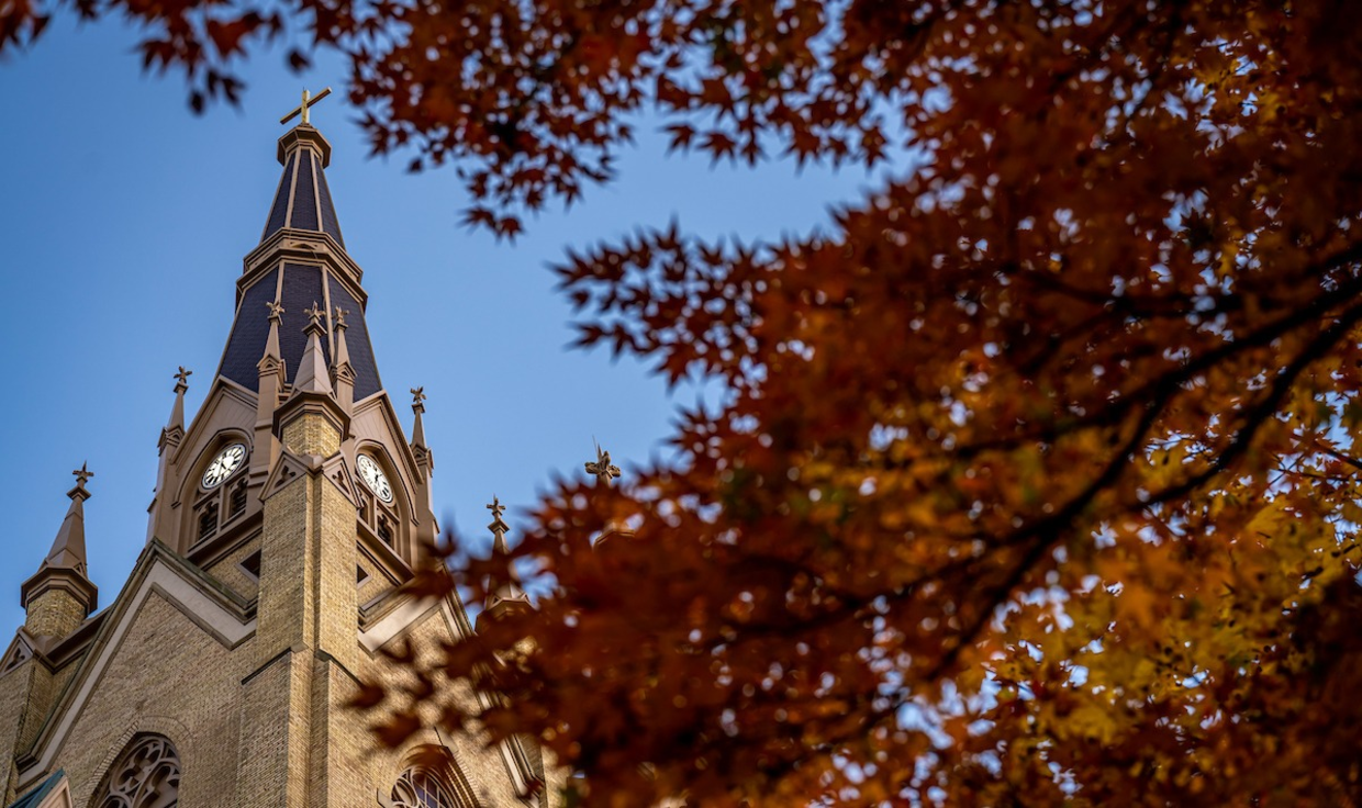 Photo of the Basilica of the Sacred Heart in the fall.