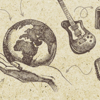 Graphic of Globe and Guitar