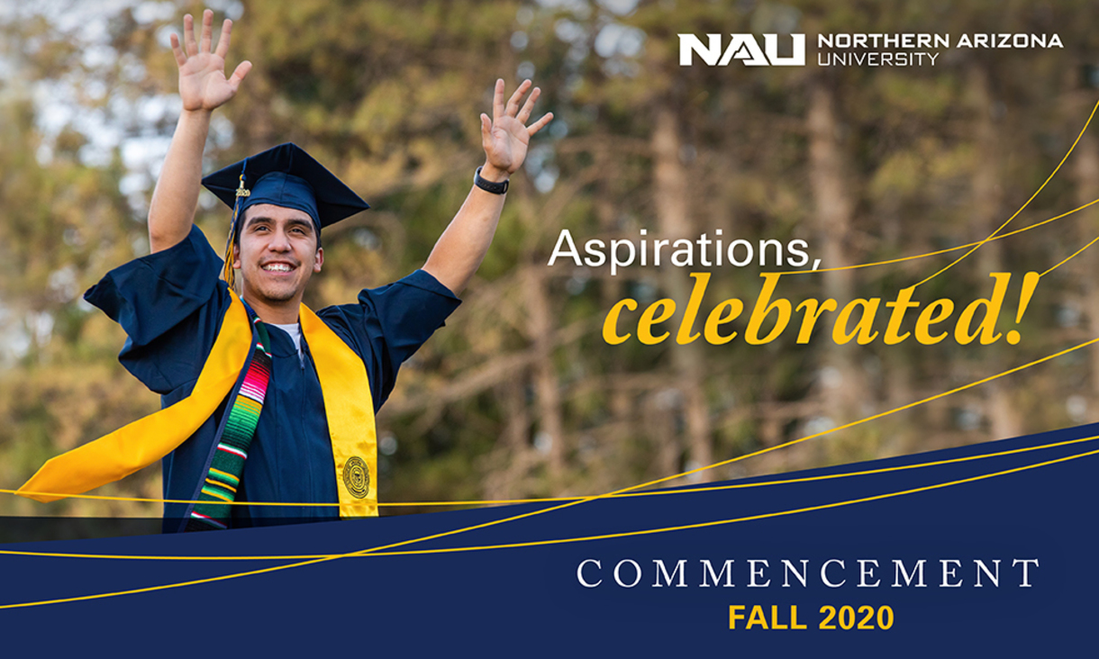 NAU student, dressed in their cap and gown commencement regalia, celebrating their achievements.