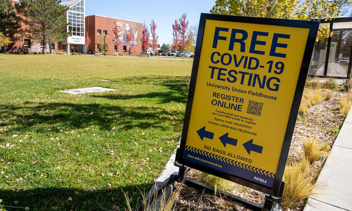 Free COVID-19 Testing sign displayed outside of the NAU University Union.