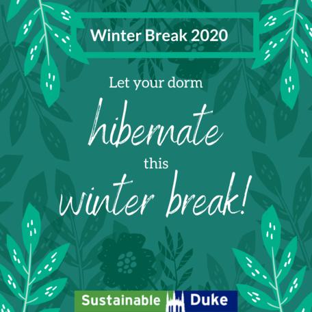 green leafy background. winter break 2020. let your dorm hibernate this winter break in white handwritten font. sustainable duke logo