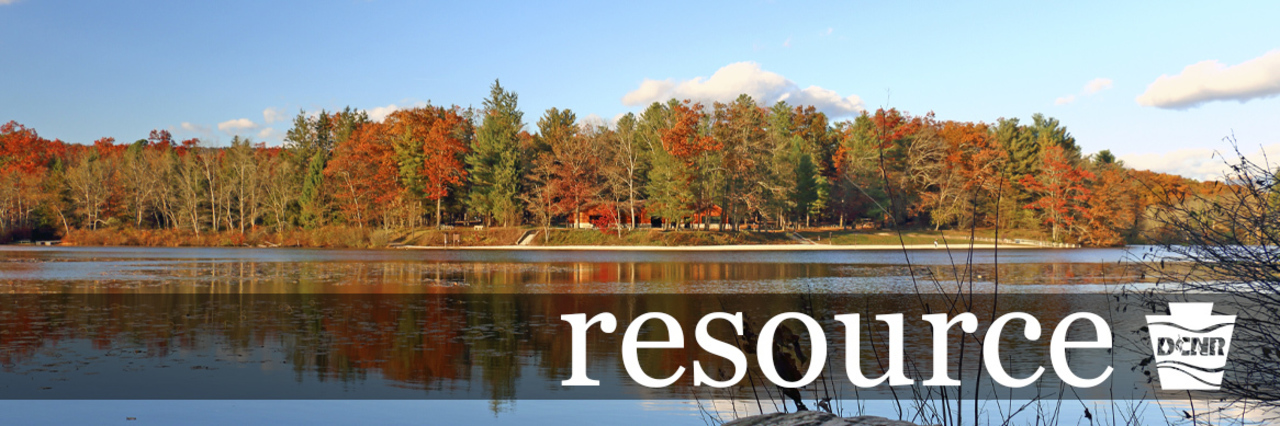 Trees line the shore of a small lake with clouds and trees reflected in the water. Text: resource