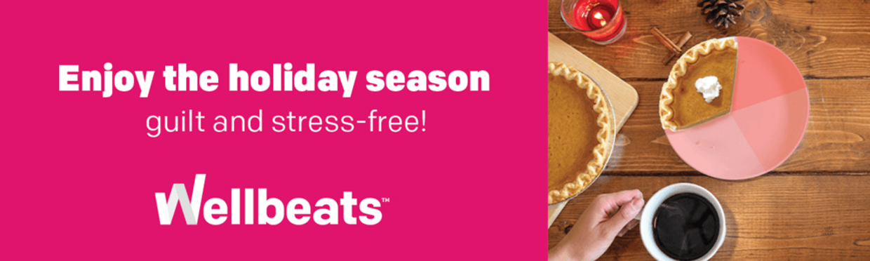 Graphic: Enjoy the holiday season guily and stress free with Wellbeats.