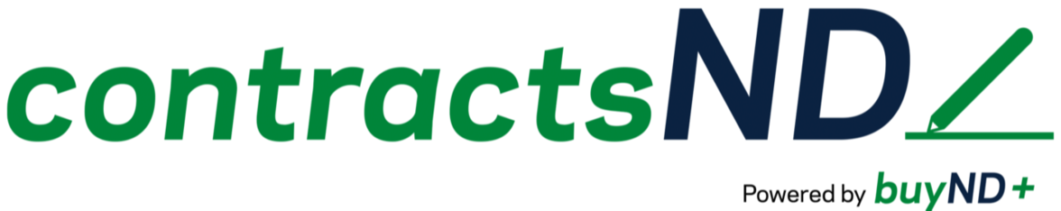 Logo that says ContractsND is powered by BuyND