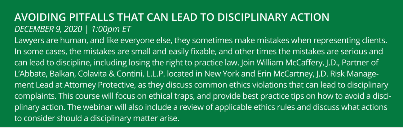 Avoiding the Pitfalls That Can Lead to Disciplinary Action