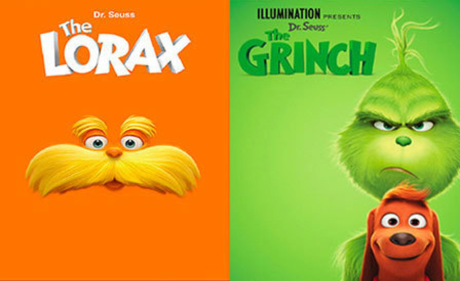 Promotional poster images side-by-side of the Lorax and the Grinch
