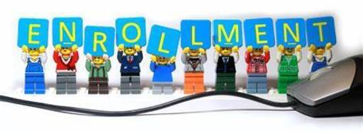 image of legos holding up letters that spell enrollment