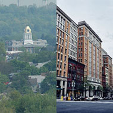 side-by-side images of rural Indiana, Pennsylvania, and urban Washington, DC