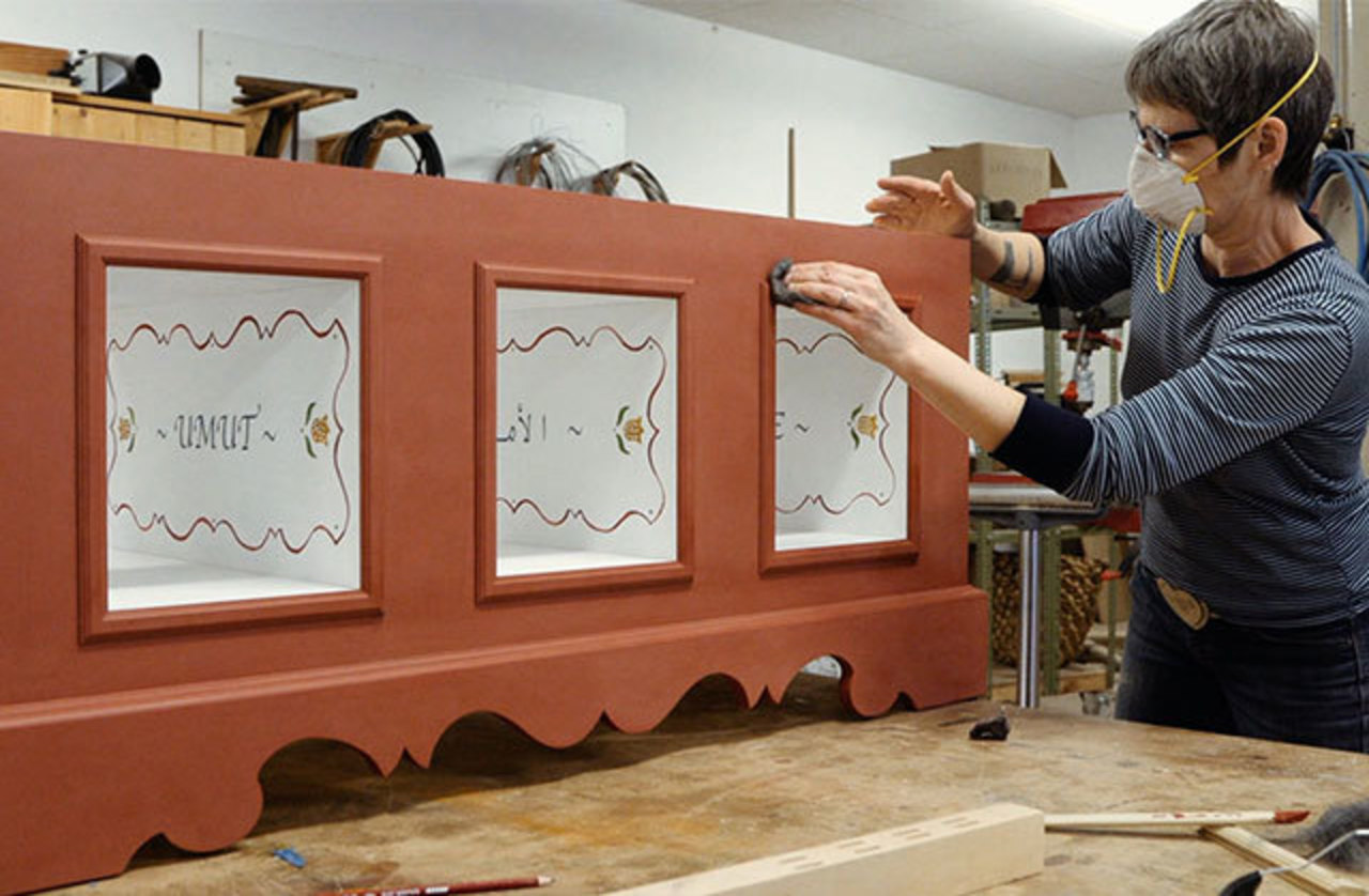 BA Harrington at work on a piece of wooden furniture