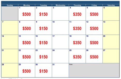 Benefit Calendar