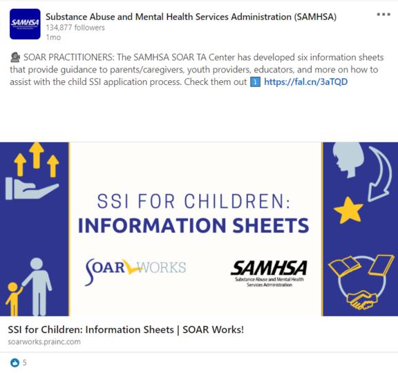 SOAR LinkedIn Post: SSI for Children Information Sheets