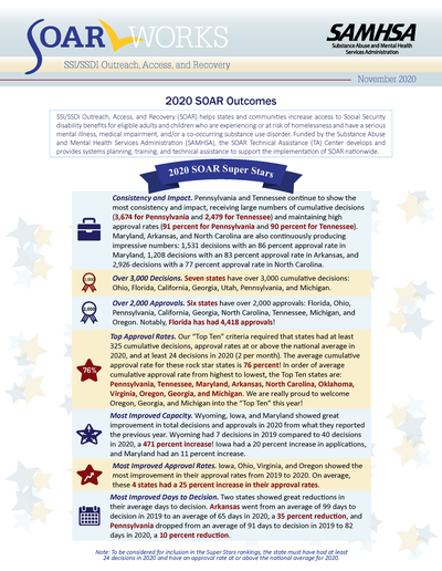 Cover page of the 2020 SOAR Outcomes Issue Brief
