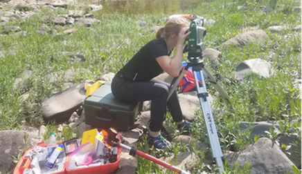 Student doing field work
