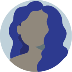 Icon of a faceless woman with curly long hair