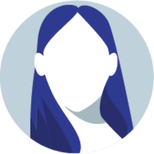 Icon of a faceless woman with long, center-parted straight hair