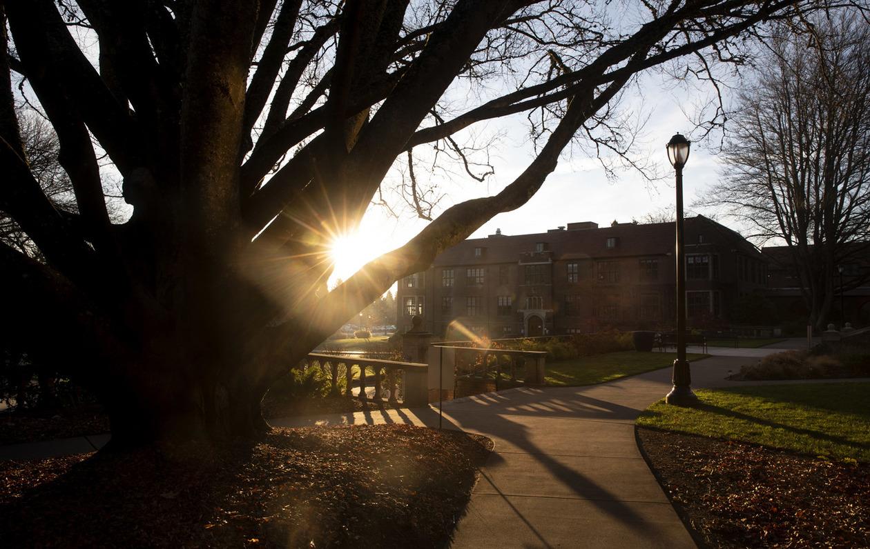 Fall sunrise over campus