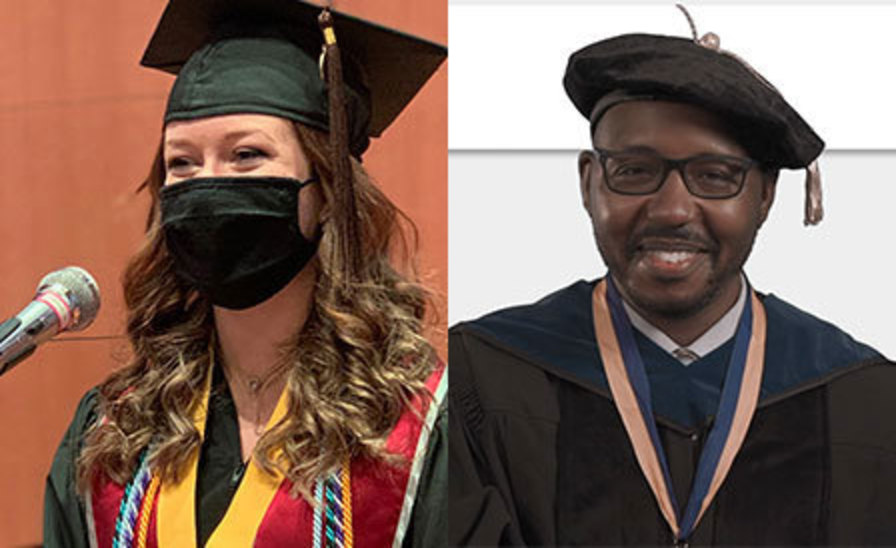 side-by-side images of Paige McLaughlin and Marvin Hobson giving their prerecorded remarks for commencement