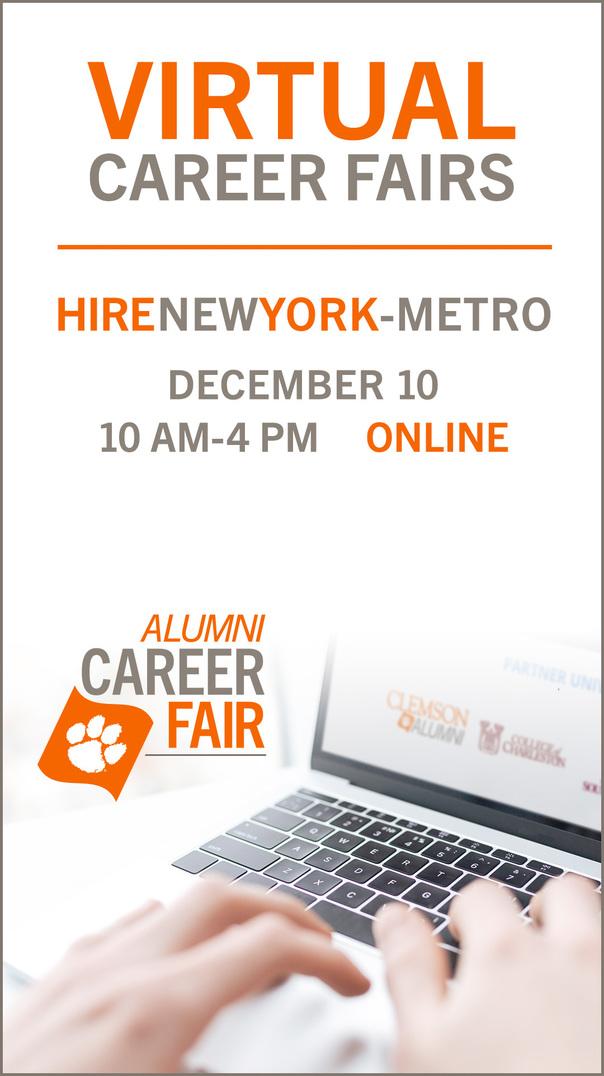 Virtual Career Fairs: HireNewYork-Metro December 10, 10am-4pm OnlineAlumni Career Fairs