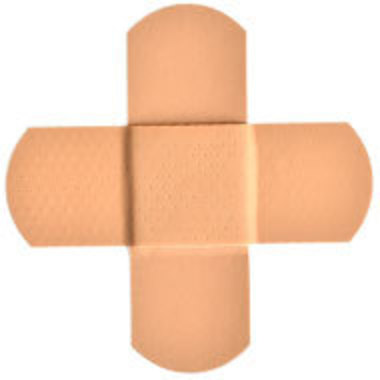 bandages in the shape of a cross