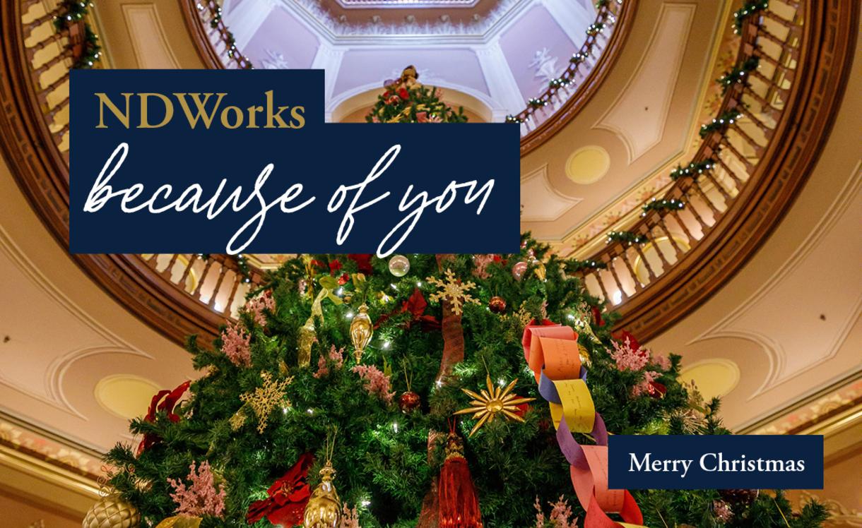 Photo of Christmas Tree in rotunda of main building. It says,