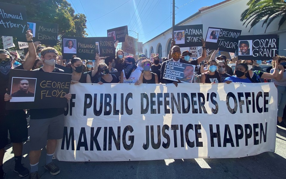 SF Public Defenders march through the Mission District for George Floyd and Black Lives Matter on June 3, 2020.
