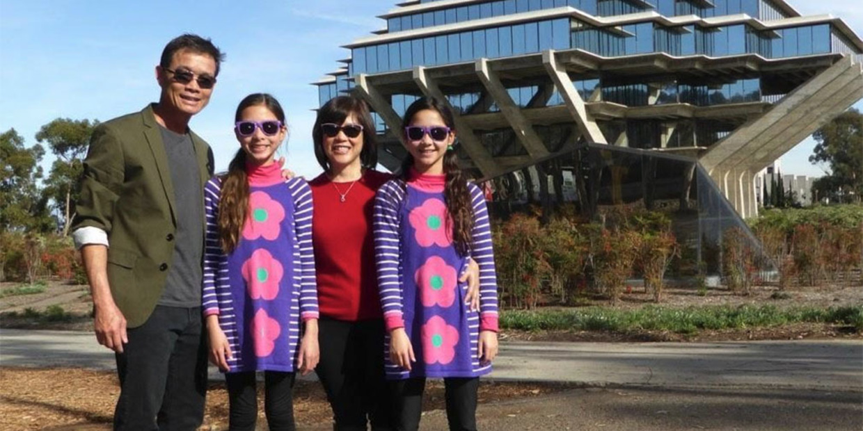 Bui Pham family in front of Geisel Library