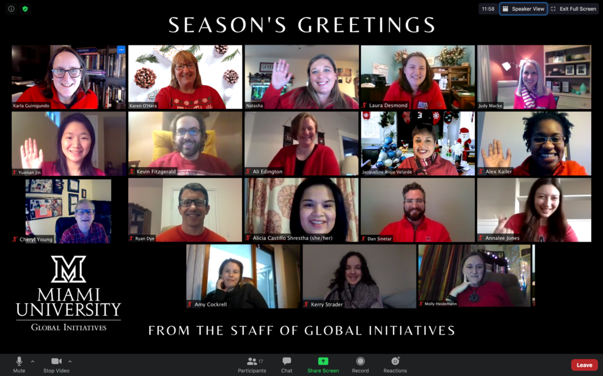 Staff on a zoom call. Seasons greetings from the staff of global initiatives