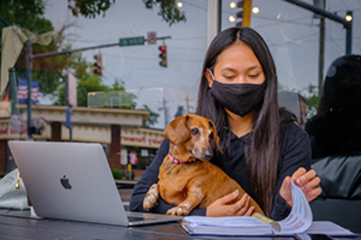 A young woman wearing a mask sitting in front of an Apple computer with a dog on her lap