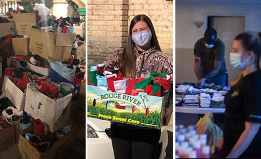 Side-by-side photos of boxes of stuffed stockings, Kristin Squires holding a box of stockings, and volunteers stuffing stockings