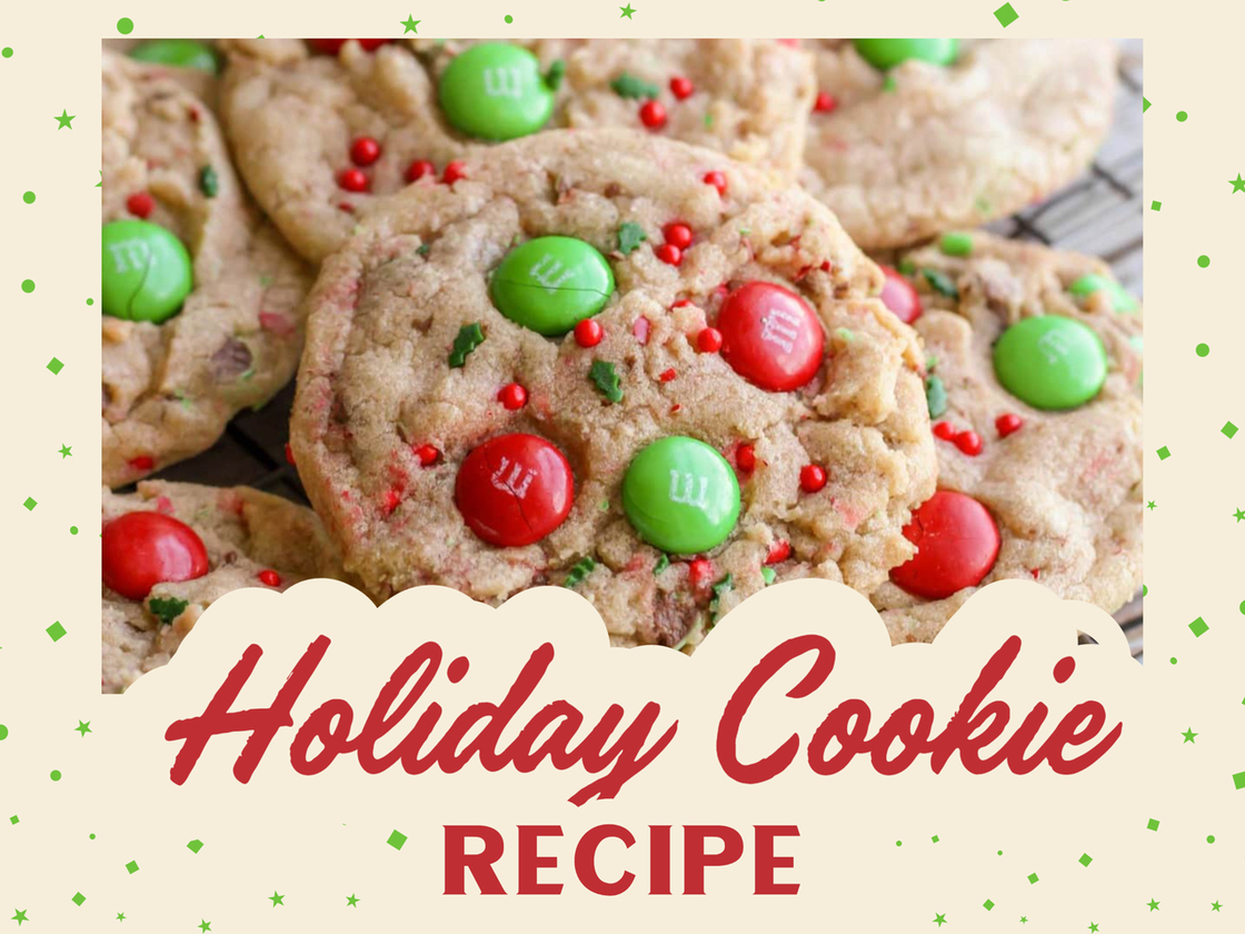 Holiday Cookies with green and red M&M's and sprinkles