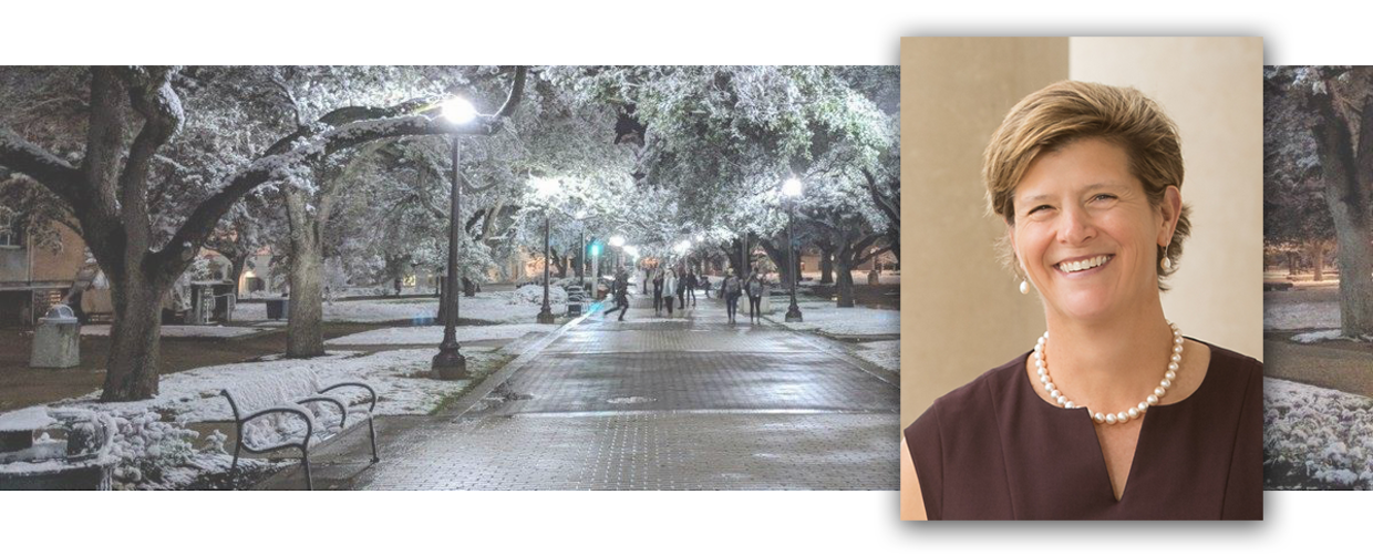 A photo of snow on the Texas A&M campus in 2017, and a photo of Dean Debbie Thomas